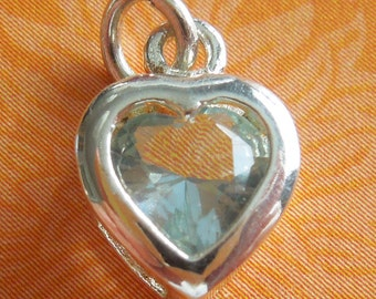 Light Blue Faceted Crystal Heart Sterling Silver Charm