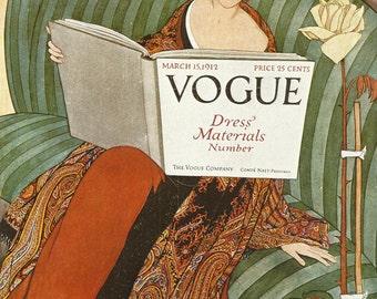Vogue magazine cover 1912 Dress Material Fashion Illustration Vogue Poster Art Deco Home Decor Print Fine Art