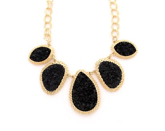 Black raw stone druzy bib necklace, black statement necklace