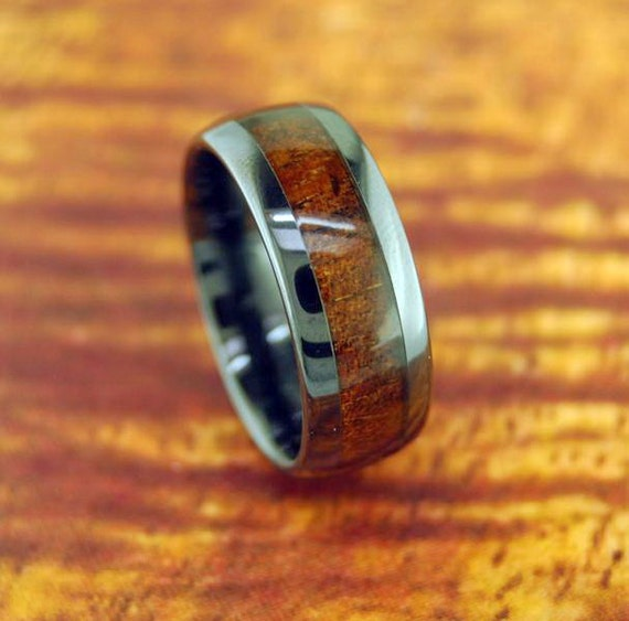 Black Ceramic Koa Wood Ring 8mm Wedding Ring By Silvershowroom