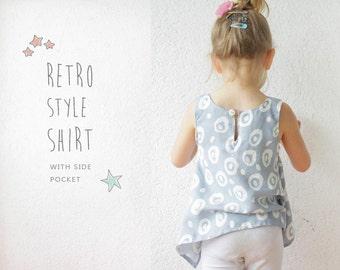 Retro SHIRT pattern - pdf toddler sewing tutorial - 2 to 9 years