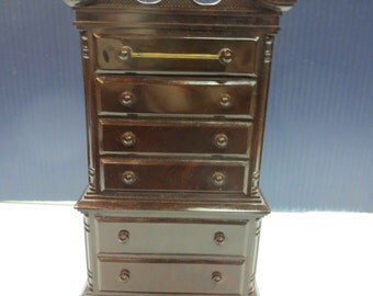 park sherman highboy dresser bank plastic cherry wood vintage