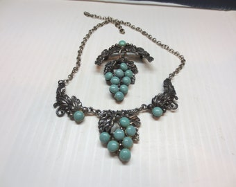 Vintage Pewter Look Turquoise Grapes Brooch With Matching Necklace