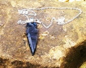 Game of Thrones inspired obsidian / dragonglass 'dagger' necklace