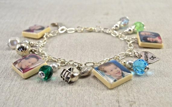 Personalized Photo Charm Scrabble Tile Bracelet
