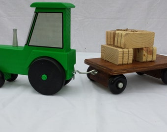 Wooden Toy Tractor with Hay Wagon