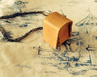Leather cube necklace,leather box necklace