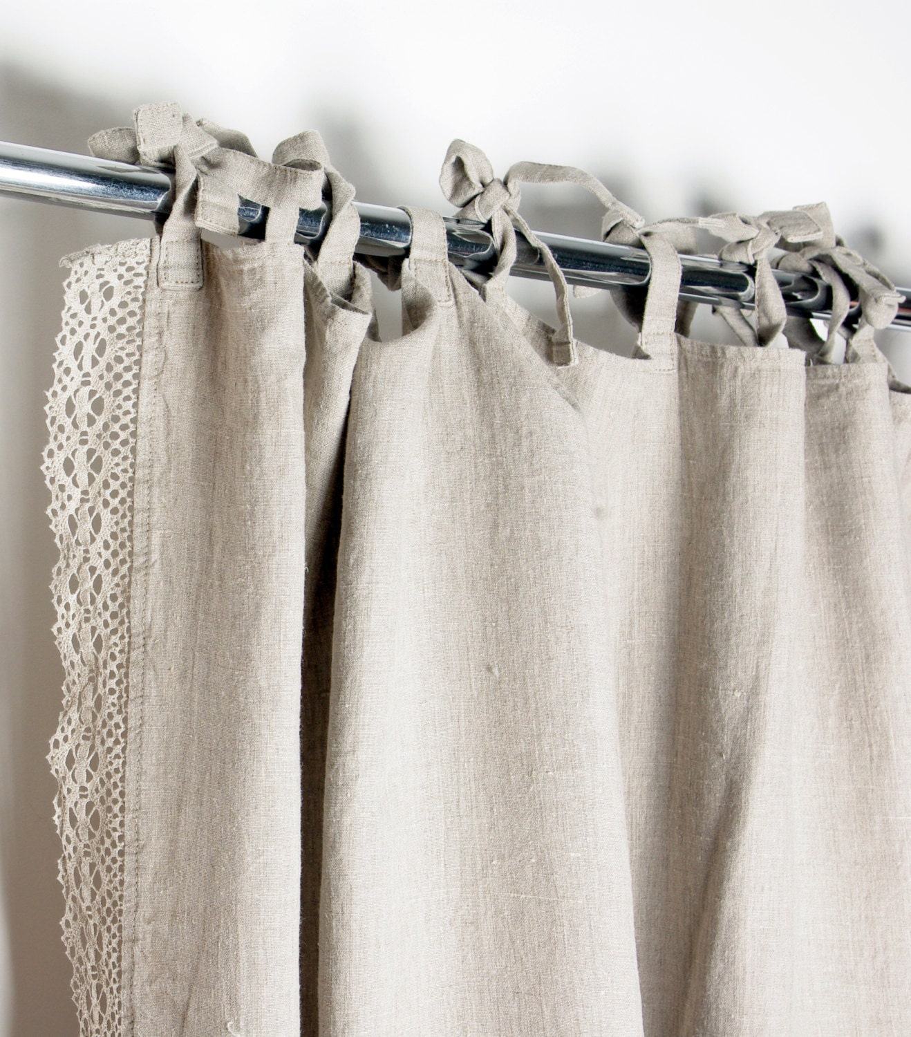 Drape Ties: Lace Linen Curtain Custom Length Ties Top Window Curtains