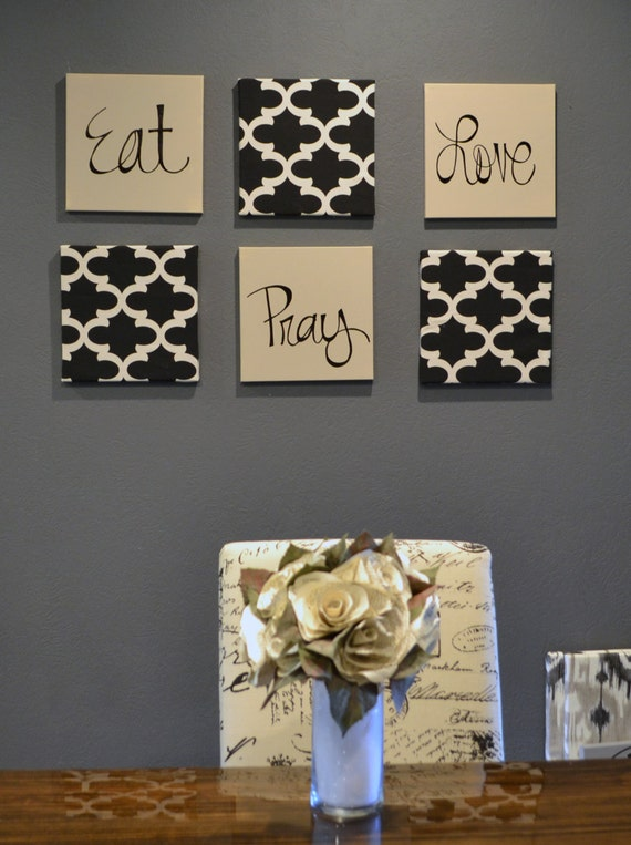 Eat pray love wall art pack of 6 canvas wall hangings hand for Dining room wall decor ideas pinterest