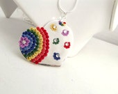 Heart Necklace Floral Heart Floral Jewellery Red Blue Yellow Rainbow Heart Flower Heart  Colourful Summer Necklace Heart Gift Love Jewellery