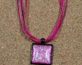 Pink Iridescent Glitter Cabochon Pendant, Nail Polish Jewelry, Glitter Nail Polish, Organza Ribbon Necklace