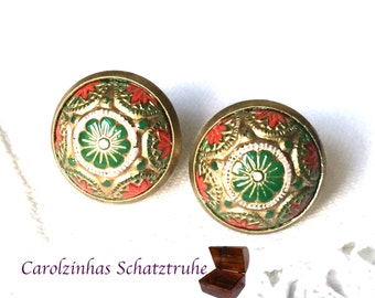 earrings Orient gold red green mosaic