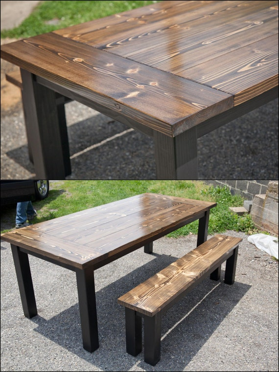 6ft Solid Wood Farmhouse Table with Breadboards by EmmorWorks