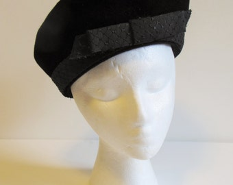 Vintage Black Upturned Brim Dress Hat