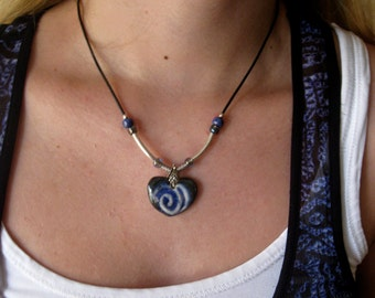 Blue Ceramic Heart Necklace