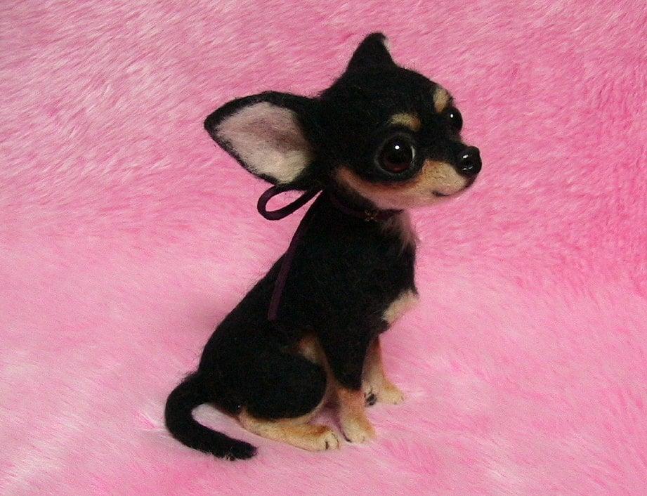 Needle Felted Cute Chihuahua Puppy Black Tan Miniature