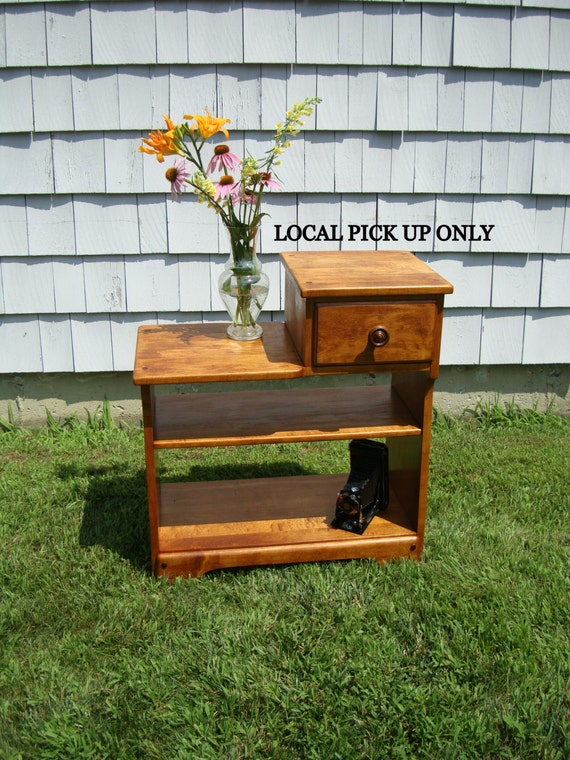 Vintage Maple Telephone Or Side Table By Whitney Furniture Co