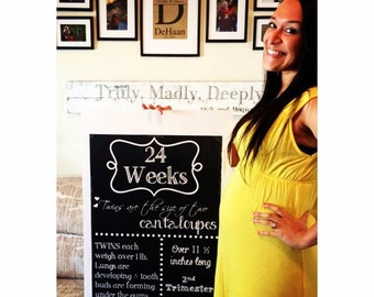 TWINS trimesters Printable File Pregnancy Chalkboard  Weeks - from 1st, 2nd, 3rd  Trimester