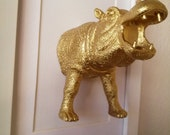 Gold Hippopotamus artwork 5x7 with a white frame/ Hippo
