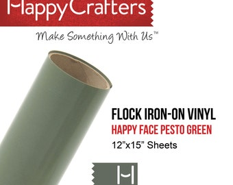"Iron On Flock Vinyl (Pesto Green) 12"" x 15"" Sheet"