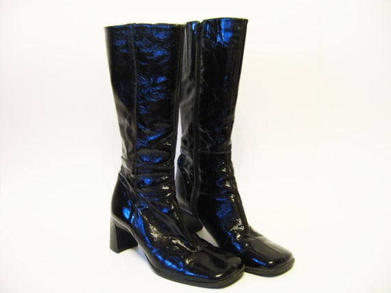 brown black go go boots shiny patent leather mod