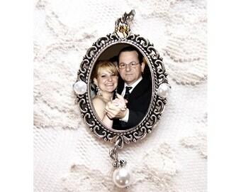 Wedding Bouquet Photo Charm #2P /Custom Pearls & Rhinestone /Vintage Memorial Keepsake Bling /Oval Antique Silver