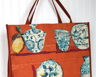 Tuscan Pottery Tote Bag - Teacup - Delft - Farmers Market Bag