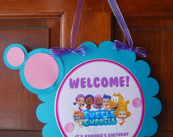 Bubble Guppie Door Sign, 8.5""