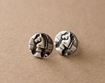 Sterling Silver Chess Post Earrings - Chess Jewelry - Horse Earrings