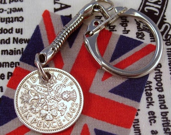 Lucky 1962 6d Sixpence English Coin Keyring Key Chain Fob Queen Elizabeth II