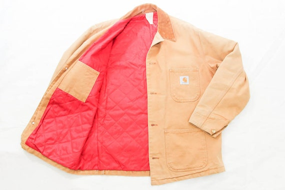 80s Carhartt Chore Jacket Barn Coat With Red Quilted Lining