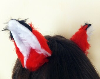Red Black tips Cosplay Fox Wolf Ears Hair Clips Headband Kitsune Japanese Anime Halloween Costume Outfit Kawaii Furry Fursuit