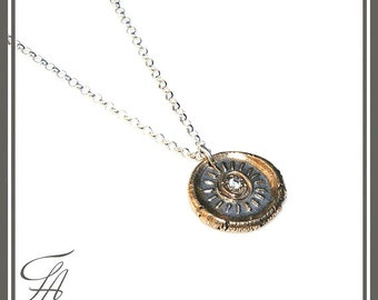 Sun Wax Seal Stamped Necklace Pendant/ Charm with white CZ, Sterling Silver in Bronze