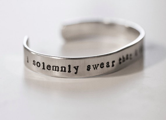 Harry Potter Inspired Cuff Bracelet, I solemnly swear that I am up to no good, Harry Potter Jewelry