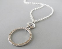 Silver Eyeglass Necklace with Flowers - Eyeglass Holders Necklaces - Eyeglass Lanyard - Silver Glasses Loop - Reading Glasses Holder