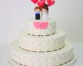 Wedding Cake Toppers (Bride, Groom and 6 Hearts)