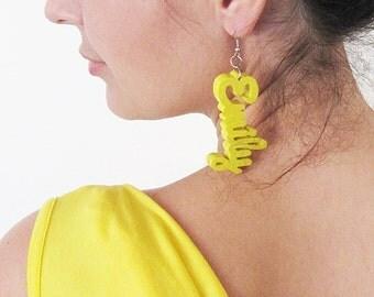 Bijoux personnalisés, cadeau fait main bois boucles d'oreilles, cadeau d'anniversaire, anniversaire