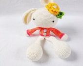 Crocheted plush bunny, stuffed toy, crocheted bunnyrabit, spring bunny, plush bunny toy