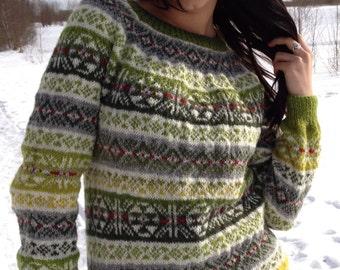 Norwegian sweater Fair Isle sweater Green sweater Women's sweater Handmade sweater  Comfy sweater Natural wool sweater