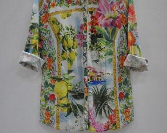 Vintage OTTO KERN printed ladies shirt ....
