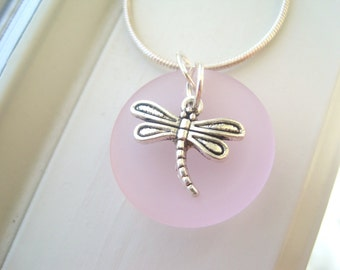Dragonfly Necklace - Dragonfly Jewelry - Pastel Pink Necklace - Pink Sea Glass Necklace - Sea Glass Jewelry -  Charm Necklace - Pink Jewelry