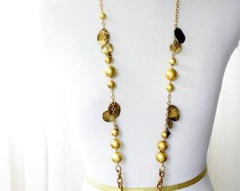 Vintage Gold Tone Opera Length Necklace