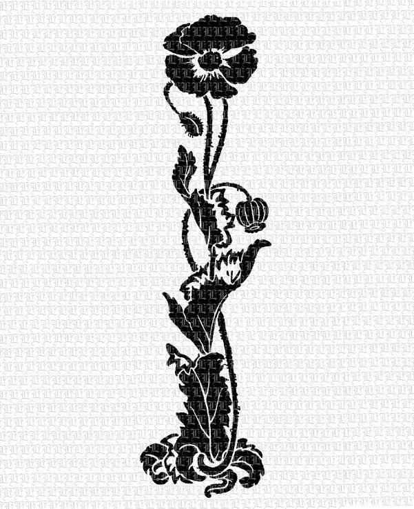 Art Nouveau Inspired California Poppy By Mason Larose: Poppy Flower Art Nouveau Graphic Printable Border Instant