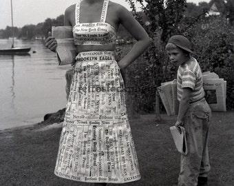 Vintage Black and White Photo - Retro - Newspaper Dress 1951 - P-08
