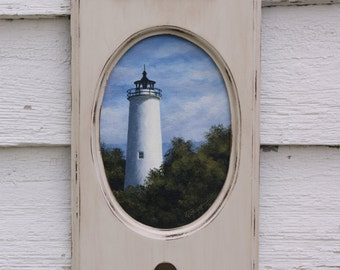 Original Lighthouse Painting on Beige Plaque with Hook