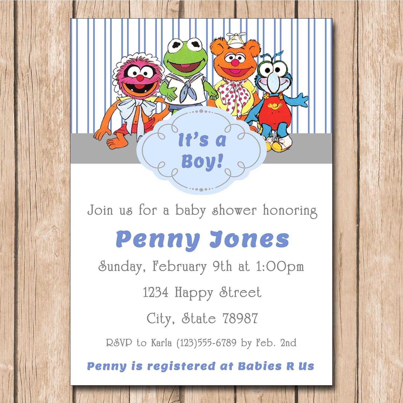 Boy Muppets Baby Shower Invitation Kermit Fozzie Animal