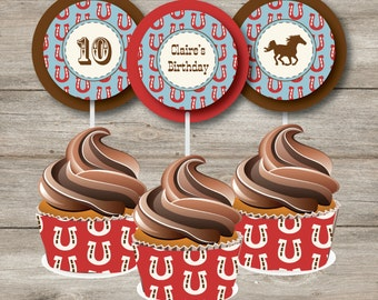Instant Download Editable Horse Cupcake Toppers and wrappers, Western Horse Birthday, Horse Printable Birthday Party, Horse Printable PDFs