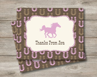Editable Printable Horse Note Cards, Horse Flat and Folded Note Card with Changeable Text, Personalized Horse Thank You Notes, Printable PDF
