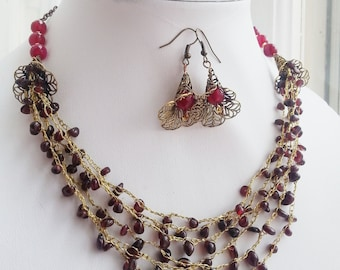 Garnet Jewelry Set, Gemstone Necklace with Earrings