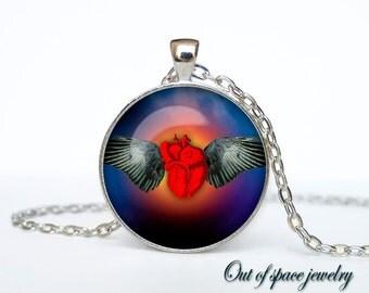 Halloween blood heart necklace Halloween pendant Halloween jewelry Gothic  Pendant